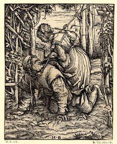 Filis galopando sobre Aristóteles - Hans Burgkmair el Viejo (ca.1519)