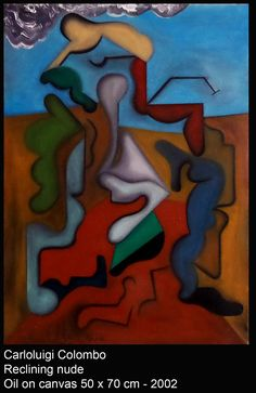 Reclining nude, oil, Riolo Terme, Faenza, Italia, painting, art, Carloluigi Colombo