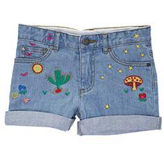 Stella McCartney Kids - Eddie Denim Embroidered Shorts