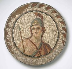 Personification of Roma in a Medallion, Ancient Roman 1st century-2nd century AD, Mosaic, Currently at the Brooklyn Museum.