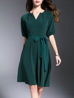#AdoreWe #StyleWe Midi Dresses - Designer GOEASTRY Solid Elegant Short Sleeve V Neck A-line Midi Dress - AdoreWe.com