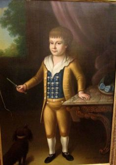 "MASTERFUL ANTIQUE 18TH C. PORTRAIT PAINTING O/C OF BOY W/DOG 36"" x 50"" FRAMED…"