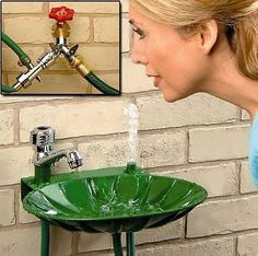 outdoor drinking fountain - great for the kids in the summer. $29.98. What a great idea! No more drinking out of the hose!