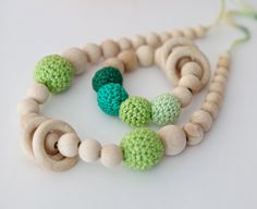 Set of 2. Green nursing rings necklace and shade of green teething ring toy.. $27.00, via Etsy.