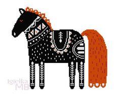Scandinavian Folk Art Horse cross stitch chart digital pdf pattern folk art horse Scandinavian art Nordic art