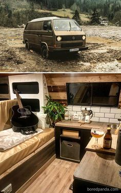 30 Of The Most Epic Bus And Van Conversions Complete With Ovens Closets Beds And Fold Out Desks These Converted Mobile Dwellings May Inspire You To Marie Kondo Your Life And Take A Journey Of Your Own Volkswagen Transporter, Vw T1 Camper, T3 Vw, Volkswagen Karmann Ghia, Volkswagen Polo, Van Life, Kombi Trailer, Cargo Trailer Camper, Fold Out Desk