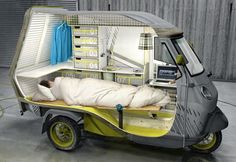 Mini camper on Ape 50, designed by Cornelius Comanns