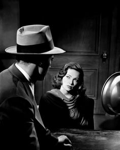 "7 awesome Film Noir movie stills - Dana Andrews puts the spotlight on Gene Tierney during the interrogation scene in ""Laura"" - Golden Age Of Hollywood, Classic Hollywood, Old Hollywood, Hollywood Actresses, Hollywood Glamour, Gene Tierney, Classic Film Noir, Classic Movies, Old Movies"