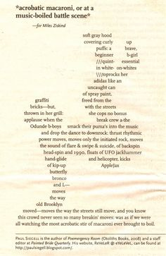 Concrete Poetry  | acrobatic macaroni or at a music boiled battle scene by paul siegell ...