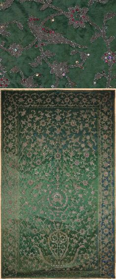 Antique Persian Textile. Wall Hanging Panel Silver Embroidery on Silk. Qajar Dynasty 1795 -1925 A.D. Circa 1870