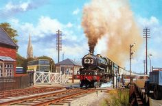 Fine Art Prints of Railway Scenes & Train Portraits - The Cornishman at Gloucester by Eric Bottomley Train Posters, Railway Posters, Train Drawing, Railroad History, Steam Railway, Train Art, British Rail, Train Tickets, Holland
