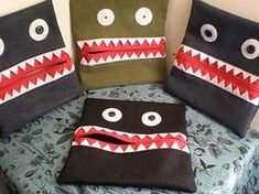 monster pencil cases - made with jeans scraps and red zippers - no tutorial but easy to figure out...