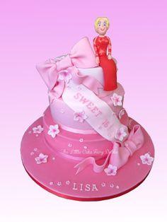 Pink Sweet 16th Cake  www.littlecakefairydublin.com www.facebook.com/littlecakefairydublin Novelty Birthday Cakes, Novelty Cakes, Pink Sweet 16, Holy Communion Cakes, Sweet 16 Cakes, Confirmation, Christening, Baby Shower, Kawaii