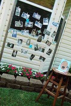 Photo display using clothespin and chicken wire. Brilliant for a birthday party!
