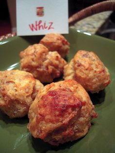 Cheez Whiz sausage balls.. **I used to make these with this recipe for tailgating at Marshall games. The cheez whiz is the secret...makes them moist! (Lord knows we hv all nearly choked on dried out ones before) Only 4 ingredients! EASY.