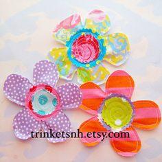 Sewn Petal Flower Fabric Appliques Set of Three by trinketsnh, $7.75