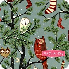 Christmas Time Green Holiday Hoot - Dang. I might have to purchase this for a Christmas table cloth.