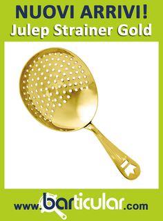 Un altro oggetto da Bartender & Mixologist appena arrivato: il Julep Strainer ORO di Cocktail Kingdom. Solo fino ad esaurimento scorte! http://www.barticular.com/store/julep-strainer-gold-per-mixologist