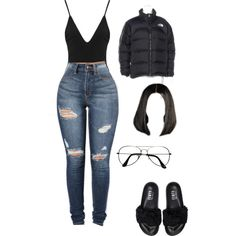 A fashion look from February 2017 featuring The North Face jackets, Puma sandals and ZeroUV eyeglasses. Browse and shop related looks.