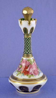 Monumental, Circa 1880, Bohemian, Green Crystal, #Perfume #Bottle with Hand Painted, Colorful Flowers Leaves Tons of Gilt Accents by Moser