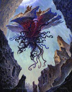 abomination artist request card art eldrazi eldritch eldritch abomination emrakul fantasy magic the gathering monster tagmemore zendikar Arte Horror, Horror Art, Fantasy Creatures, Mythical Creatures, Dark Fantasy, Fantasy Art, Tears Art, Lovecraftian Horror, Eldritch Horror