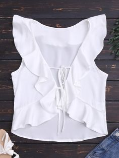 Front Tie Ruffles Cropped Tank Top - White S Trendy Outfits, Trendy Fashion, Cute Outfits, Fashion Looks, Womens Fashion, Summer Outfits, Diy Vetement, Lace Tank, Cropped Tank Top