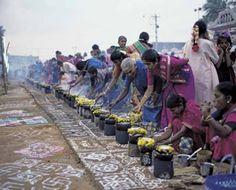 Photograph:V. Muthuraman/SuperStock Indian women celebrate Pongal, a Hindu festival. During Pongal people offer rice boiled in milk to the gods. Festivals Of India, Festivals Around The World, Indian Festivals, Visit India, India Tour, International Day, Largest Countries, South India, India Travel