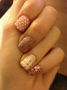 pink glitter, studded, and pearl nails (copycat of Nailasaurus)