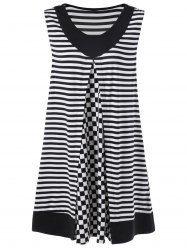 Plus Size Stripe Long Sleeveless T-Shirt
