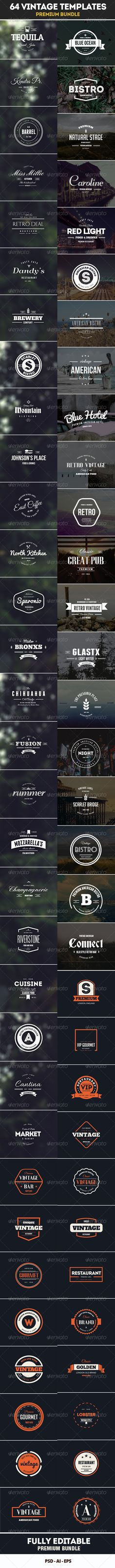 64 Vintage Labels & Badges Logos Bundle