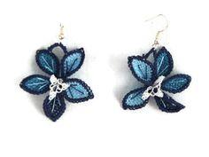 Crochet Flower  Earrings Blue Tatted Earrings Dangle by Nakkashe, $20.00
