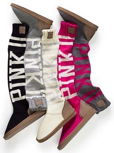A pair of slouchy home boots from Victoria's Secret PINK collection, in grey! Yes please!