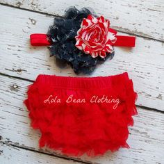 Baby Girl Red Bloomers Ruffle Diaper Cover 0 3 months Photography Prop Newborn Headband Set Forth of July Red White Blue