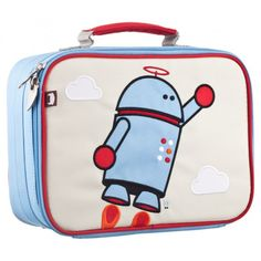 Our flying robot lunch box is a playful way to keep tuna sandwiches and carrot sticks fresh at school. Made with heavy-duty nylon and machine washable for kid-proof durability and easy cleaning. These