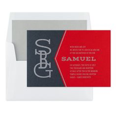 Bold and modern, this Fulcrum Bar Mitzvah Invitation is perfect to announce a handsome Bar Mitzvah celebrant for a unique individual in a style! Your monogram adorns the left side, while a two-layer design with a die cut coordinates on the right. Bar Mitzvah Party, Bat Mitzvah, Bar Mitzvah Invitations, Addressing Envelopes, Layers Design, Rsvp, Custom Design, Cards, Parties