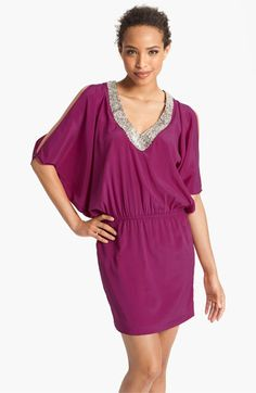 Nicole Miller Jeweled V-Neck Silk Dress available at #Nordstrom