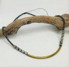Hematite necklace, short necklace, raw brass chocker, adjustable size