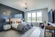63 Gorgeous Farmhouse Master Bedroom Design Ideas Farmhouse is in, and for good reason. Bring it on your master bedroom design ideas is a great ideas. Modern Farmhouse Bedroom, Farmhouse Master Bedroom, Modern Farmhouse Kitchens, Master Bedroom Design, Home Decor Bedroom, Modern Bedroom, Bedroom Wall, Farmhouse Decor, Farmhouse Style