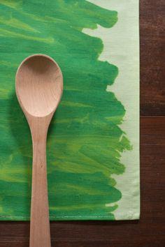 Watercolor Wash Linen / Cotton Tea Towel - Cut Grass Green