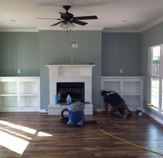 Sherwin Williams Oyster Bay Paint Probably Too Dark For Great Room paint Paint Colors For Living Room, Paint Colors For Home, House Colors, Dinning Room Paint Ideas, Dining Room, Family Room Design, Family Room Colors, Farmhouse Paint Colors, Favorite Paint Colors