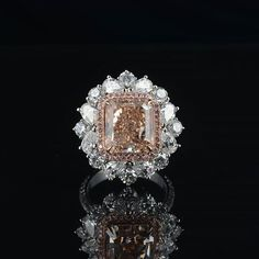 Saboo Fine Jewels. Natural Fancy Brownish Pink Diamond Ring weighing 6.62 cts VVS1.