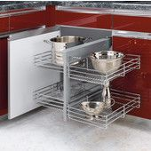 Corner cabinet organizer Rev-A-Shelf 21 in. H x 26 in. W x 20 in. D Pull-Out Blind Corner Cabinet Wire Basket Organizer in Chrome at The Home Depot - Mobile Kitchen Cabinet Organization, Storage Cabinets, Kitchen Storage, Cabinet Organizers, Food Storage, Door Organizer, Storage Organization, Cabinet Slides, Storage Racks