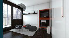 Garsónka na mieru Small Apartments, Colorful Interiors, Bed, Flat, Furniture, Home Decor, Bass, Decoration Home, Small Flats