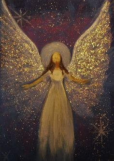 The Angelic Realm: Original Angel Painting Healing Energy by Breten Bryden.