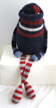 Smug Monster- plush upcycled from sweaters.