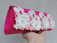 Bridal Fuchsia Satin Pleated Evening Clutch by Chuletindesigns, $55.00