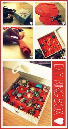 DIY Ring Box ring diy craft crafts easy crafts diy ideas diy crafts do it yourself crafty easy diy diy tips diy images do it yourself images diy organizing diy pics easy diy craft ideas organizing crafts diy tutorial idea diy tutorial ideas ring box Diy Décoration, Easy Diy Crafts, Creative Crafts, Creative Ideas, Porta Anel Diy, Ring Crafts, Jewelry Crafts, Jewelry Box, Jewellery Boxes