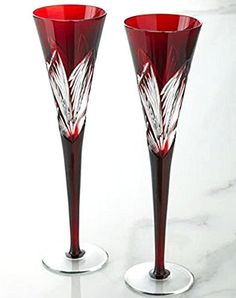 Two Times Square Ruby Flutes by Waterford Crystal at Horchow. Waterford Crystal, Crystal Glassware, Cut Glass, Glass Art, Vases, Crystal Meanings, Champagne Flutes, Wedding Champagne, Red Wedding