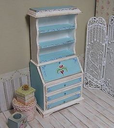 Miniature Dollhouse Furniture Biz Writing Desk bookshelf hand painted 1 in scale by Janet Peters