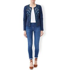 Monsoon Mia Mirrorwork Jacket (€145) ❤ liked on Polyvore featuring outerwear, jackets, quilted jacket, open front jacket, embellished jacket, blue jackets and blue quilted jacket
